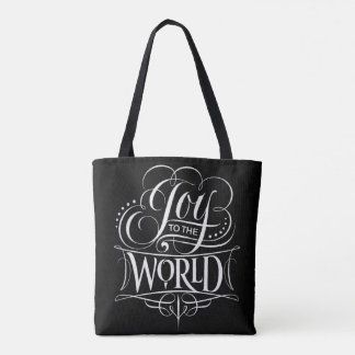 Joy to the World Christmas Chalkboard Lettering Tote Bag