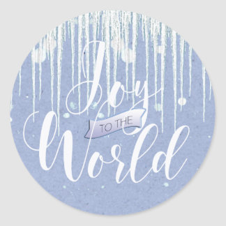 Joy to the World Christmas Icicles ID278 Round Sticker