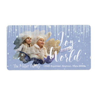 Joy to the World Christmas Icicles ID278 Shipping Label
