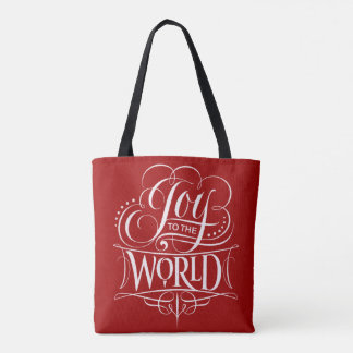Joy to the World Christmas Lettering Red Tote Bag