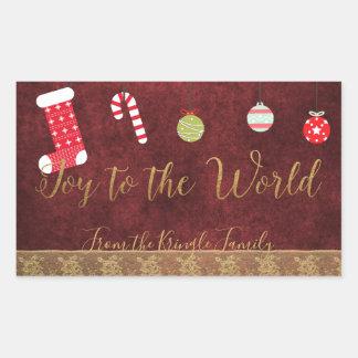 Joy to the World Christmas Red Velvet Gold Lace Sticker