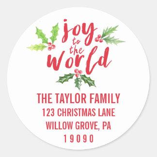 Joy to the World Christmas Return Address Classic Round Sticker