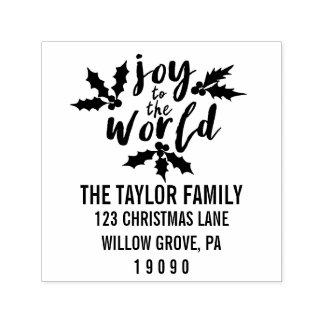 Joy to the World Christmas Return Address Self-inking Stamp
