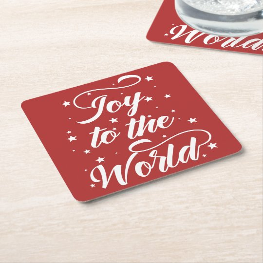 joy to the world Christmas Square Paper Coaster