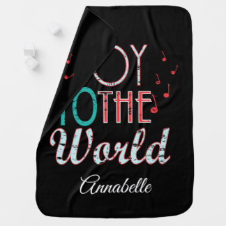 Joy to The World Christmas Typography Music Notes Baby Blanket