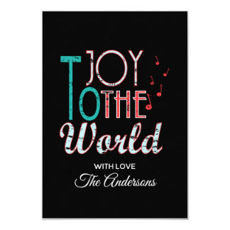 Joy to The World Christmas Typography Music Notes Card