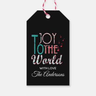 Joy to The World Christmas Typography Music Notes Gift Tags