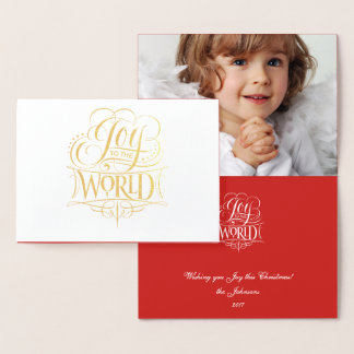 Joy to the World Classic Gold Foil Red Christmas Foil Card