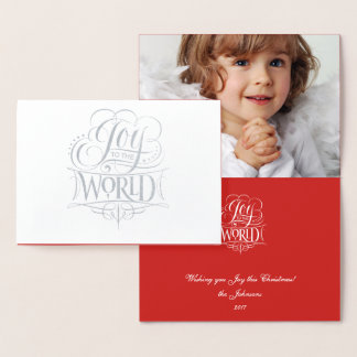 Joy to the World Classic Silver Foil Red Christmas Foil Card