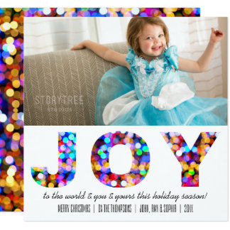 Joy to the World Colorful Sparkly Holiday Photo Card