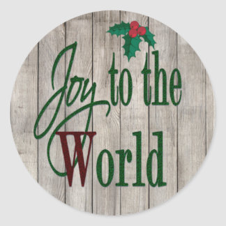 Joy To The World Country Christmas Classic Round Sticker