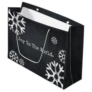 Joy to The World Custom Snowflake Blackboard Large Gift Bag