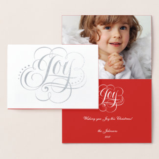 Joy to the World Elegant Silver Foil Christmas Foil Card