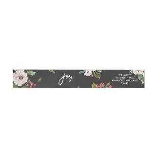 Joy To The World Floral Black Return Address Label Wraparound Return Address Label