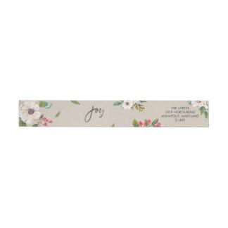 Joy To The World Floral Taupe Return Address Label Wraparound Return Address Label