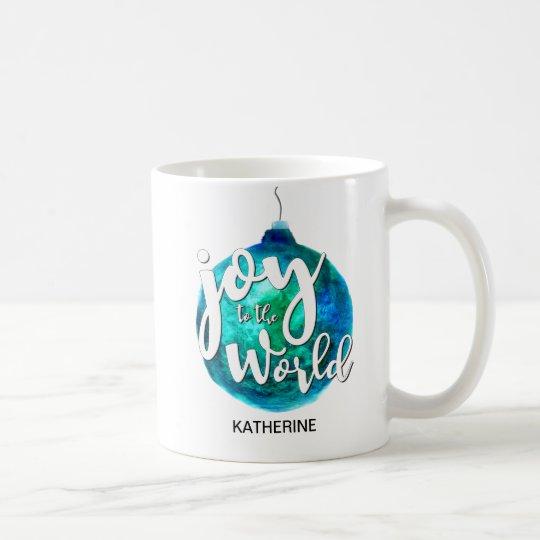 """Joy to the World"" Globe, Christmas, Custom Coffee Mug"