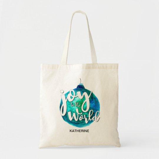 """Joy to the World"" Globe, Christmas, Custom Tote Bag"