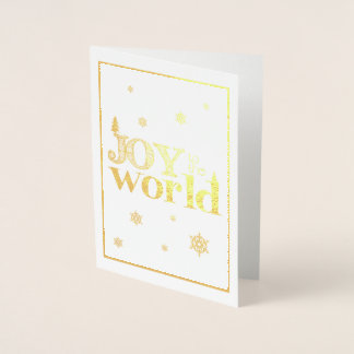 Joy to the World Gold Christmas Card