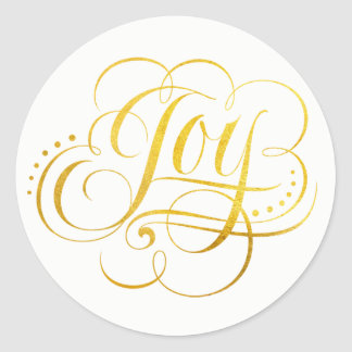 Joy to the World Gold Foil Calligraphy - Faux Classic Round Sticker