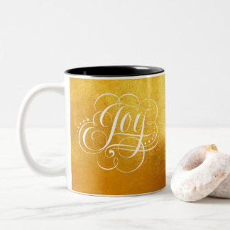 Joy to the World Gold Luxury Christmas Lettering Two-Tone Coffee Mug