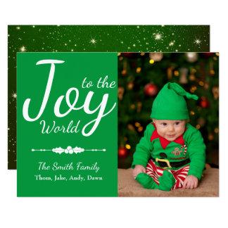 Joy to the World Green Custom Christmas Photo Card