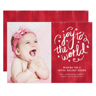 Joy to the World Hand Lettered Holiday Photo Card