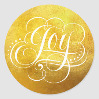 Joy to the World Heavy Gold Foil Calligraphy -Faux Classic Round Sticker