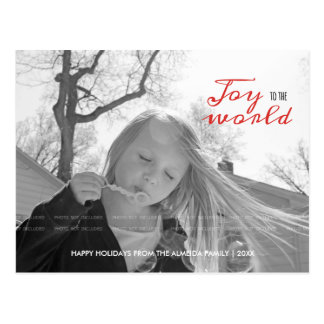 Joy to the World Holiday Photo Christmas Red Black Postcard