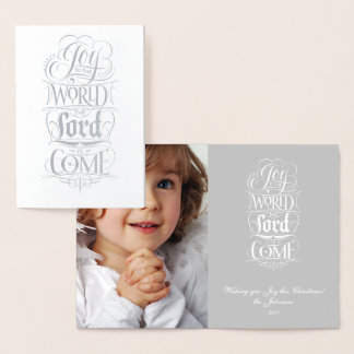 Joy to the World Lord Come - Religious Calligraphy Foil Card