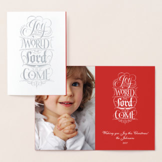 Joy to the World Lord Come - Religious Lettering Foil Card