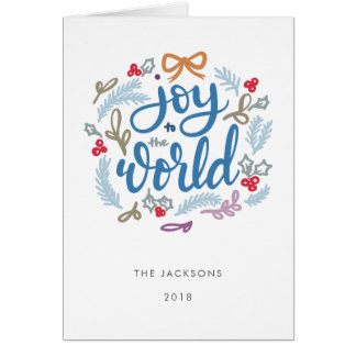 Joy to the World Navy  Blue Christmas Card