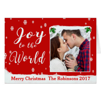 Joy to the World Personalize Holly Frame Card