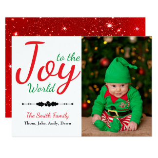 Joy to the World Personalized Christmas Photo Card