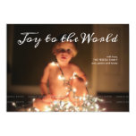 "Joy to the World Photo Christmas Holiday Aqua Blue 5"" X 7"" Invitation Card"