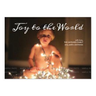 Joy to the World Photo Christmas Holiday Brown Card