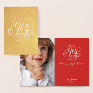 Joy to the World Real Gold Christmas Calligraphy Foil Card