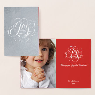 Joy to the World Real Silver Christmas Calligraphy Foil Card