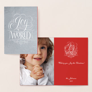 Joy to the World Real Silver Christmas Lettering Foil Card
