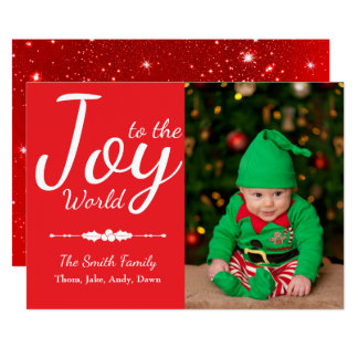 Joy to the World Red Custom Christmas Photo Card