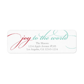 Joy To The World | Red/Light Blue Return Address Label