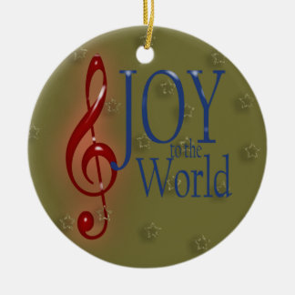 JOY to the World Round Ceramic Ornament