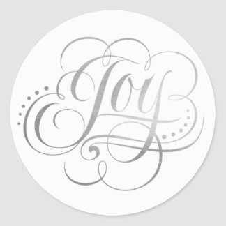 Joy to the World Silver Foil Calligraphy - Faux Classic Round Sticker