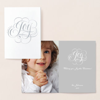 Joy to the World Silver Foil Christmas Lettering Foil Card
