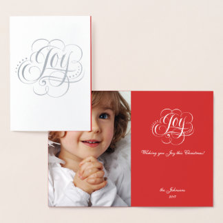 Joy to the World Silver Red Christmas Calligraphy Foil Card