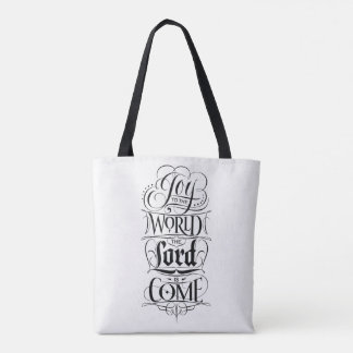 Joy to the World the Lord is Come Christmas Type Tote Bag