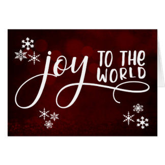 Joy to the World Typography and Snowflakes Card