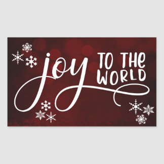 Joy to the World Typography and Snowflakes Sticker