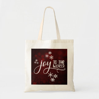 Joy to the World Typography and Snowflakes Tote Bag