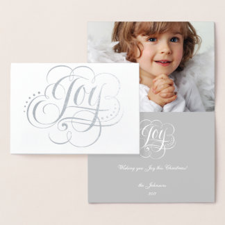 Joy to the World White Silver Foil Christmas Card