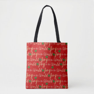 Joy to the world with holly in gold tote bag